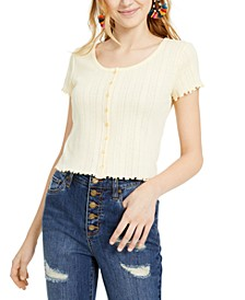 Juniors' Pointelle Cropped Button-Up Top