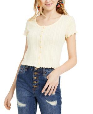 Hippie Rose Juniors' Pointelle Cropped Button-Up Top
