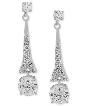 Carolee  EARRINGS, SILVER-TONE CUBIC ZIRCONIA LINEAR DROP EARRINGS (9-3/4 CT. T.W.)
