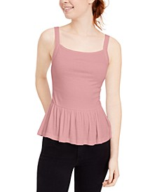 Juniors' Smocked-Waist Peplum Top