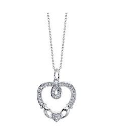 Gratitude & Grace Fine Silver Plated Cubic Zirconia Celtic Heart Pendant Necklace