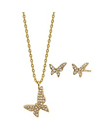 2-Pc. Set Cubic Zirconia Mini Butterfly Necklace & Stud Earrings in Gold Tone Fine Plated Silver, Created for Macy's