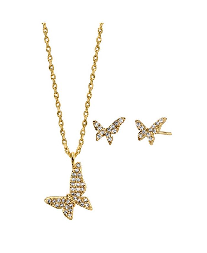 Unwritten - 2-Pc. Set Cubic Zirconia Butterfly Necklace & Stud Earrings in Gold Tone, Created For Macy's