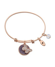 """ Fearless"" Cubic Zirconia and Genuine Amythest Adjustable Bangle Bracelet in Stainless Steel with Silver Plated Charms"