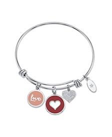 """Love"" Heart Enamel and Cubic Zirconia Heart  Adjustable Bangle Bracelet in Stainless Steel"