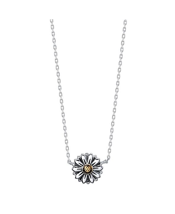 Unwritten Two-Tone Fine Plated Silver Flower Necklace with Gold Center