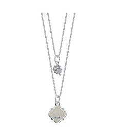 White Enamel Horseshoe and Cubic Zirconia Clover Duo Necklace in Fine Silver Plate
