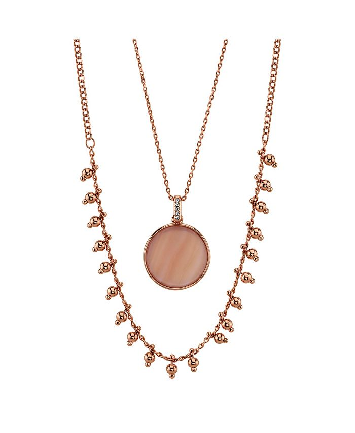 Unwritten - Rose Gold Flash Plated Mother Of Pearl Disc Layered Pendant Necklace with Beaded Second Chain
