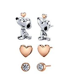 Unwritten Three Pair Silver Plated Snoopy Earring Set with Rose Gold Heart and CZ Bezel Stud
