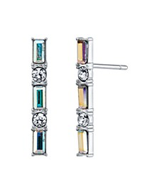 Fine Silver Plated Clear and Iridescent Swarovski Crystal Post Stud Bar Earrings by David Tutera Everyday Celebrations