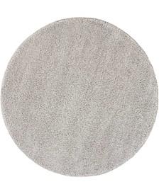 "Cali Shag CAL01 Silver 6'7"" Round Area Rug"