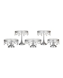 Victoria Crystal-Draped Cake Stand Set of 5 with Glass Plates