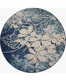 """Peace PEA08 Navy, Pink 5'3"""" Round Area Rug"""