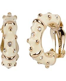 18k Gold Plated Enameled Hoop Pierced Earring