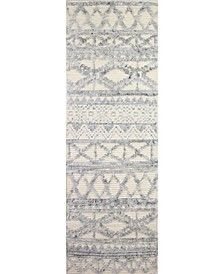 "Natural Wool M133 Ivory and Blue 2'6"" x 8' Runner Rug"