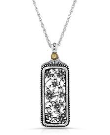 Pewter Flower Filigree Mirror Pendant Necklace