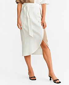 Bicolor Buttoned Skirt