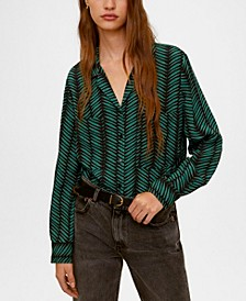 Chest-Pocket Flowy Blouse