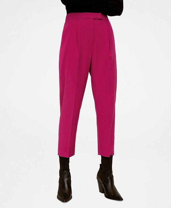 MANGO Pleated Crop Trousers