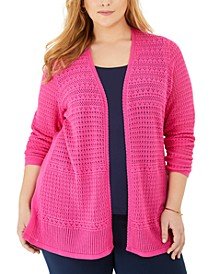 Plus Size Mixed-Stitch Pointelle Cardigan, Created for Macy's