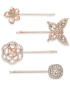 INC 4-Pc. Rose Gold-Tone Crystal & Imitation Pearl Flower & Butterfly Bobby Pin Set, Created for Macy's