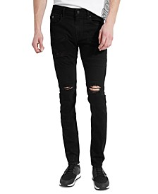 Men's Skinny-Fit Zipper Moto Jeans