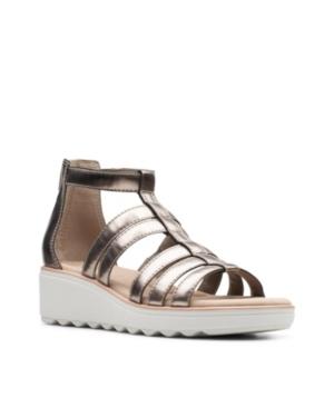 Clarks Collection Women's Jillian Nina Wedge Sandals Women's Shoes In Pewter Metallic Textile