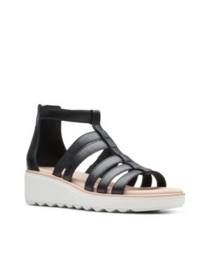 Clarks Collection Women's Jillian Nina Wedge Sandals Women's Shoes In Black Leather