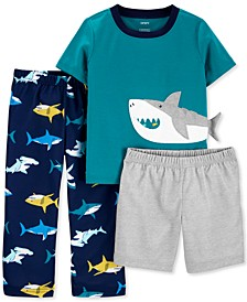Toddler Boys 3-Pc. Shark Pajamas Set