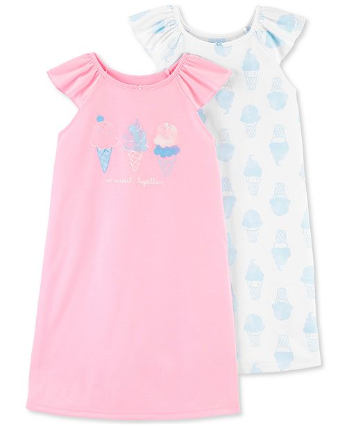 Carter's Little & Big Girls 2-Pack Ice Cream Nightgowns Set