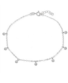 Cubic Zirconia Pavé 7 Mini Disc Drops Ankle Bracelet in Sterling Silver or 18K Gold-Plated Sterling Silver