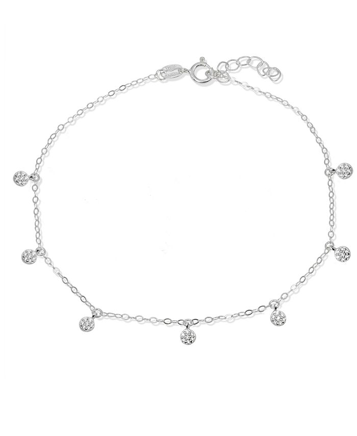 Giani Bernini - Cubic Zirconia Pavé 7 Mini Disc Drops Ankle Bracelet in Sterling Silver or 18K Gold-Plated Sterling Silver