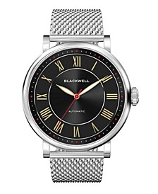 Sunray Black Dial with Silver Tone Steel and Silver Tone Steel Mesh Watch 44 mm