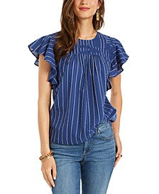 Striped Flutter-Sleeve Top, Created for Macy's