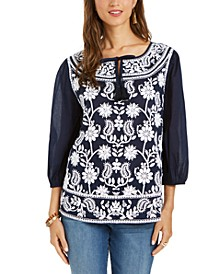 Petite Embroidered Split-Neck Blouse, Created for Macy's