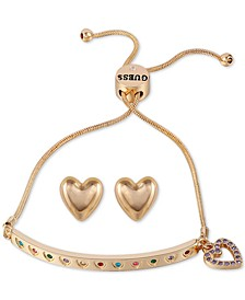 Gold-Tone Multicolor Pavé Heart Charm Slider Bracelet & Stud Earrings Set
