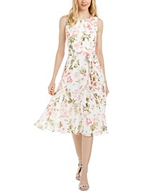 Petite Floral Chiffon Midi Dress