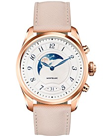Unisex Swiss Summit 2 Cream Leather Strap Hybrid Smart Watch 42mm