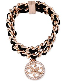 Gold-Tone Black Woven Crystal Charm Chain Bracelet