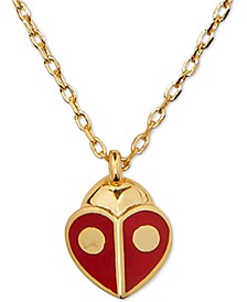 "Gold-Tone Red Ladybug Mini Pendant Necklace, 16"" + 3"" extender"