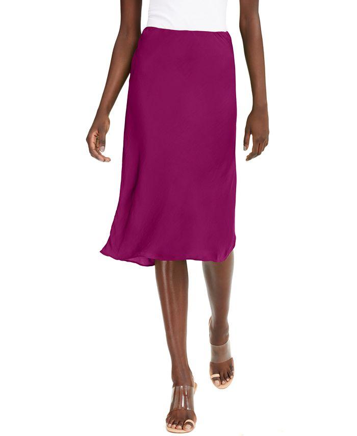 INC International Concepts - Petite Solid Bias-Cut Midi Skirt
