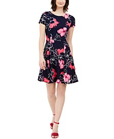 Petite Floral Fit & Flare Dress