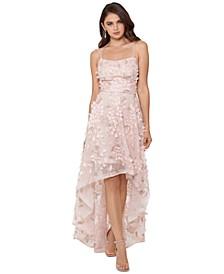 Floral-Appliqués High-Low Gown