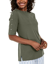 Studded Elbow-Sleeve Boat-Neck Top, Created for Macy's