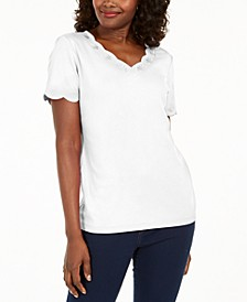 Cotton Scalloped V-Neck T-Shirt, Created for Macy's