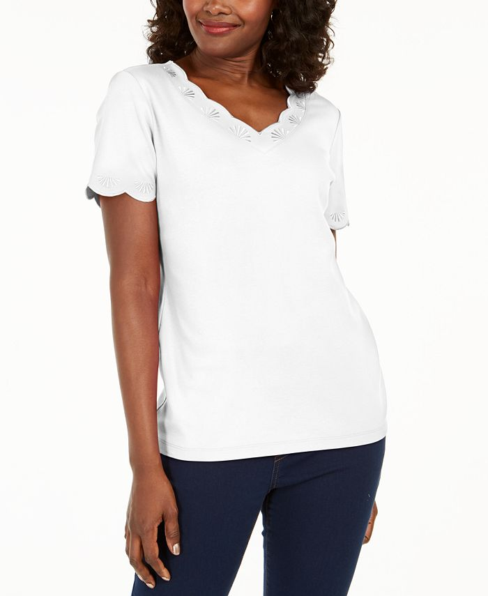 Karen Scott - Plus Size Scallop-Trim Cotton Top
