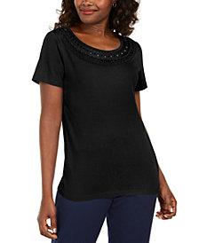 Karen Scott Petite Crochet Scoop-Neck Top, Created for Macy's