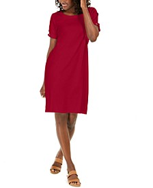 Plus Size Cotton Peak-Shoulder Dress, Created for Macy's