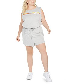 Plus Size Cotton Drawstring-Waist Romper
