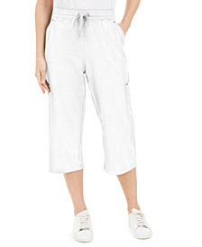 Karen Scott Petite French Terry Cargo Capri Pants, Created for Macy's